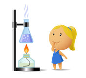 Schoolgirl watching on chemistry test Stock Image