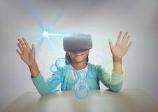 Schoolgirl wearing virtual reality headset