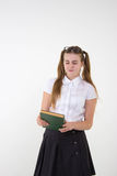 Schoolgirl in white blouse with glasses hate homework Stock Photos
