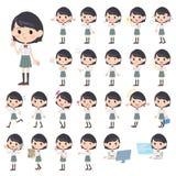 Schoolgirl White shortsleeved shirt. Set of various poses of schoolgirl White shortsleeved shirt Stock Photography