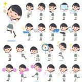 Schoolgirl White shortsleeved shirt 2. Set of various poses of schoolgirl White shortsleeved shirt 2 Royalty Free Stock Photo