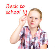 Schoolgirl With Red Mrker In Hand Royalty Free Stock Photo