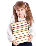 Schoolgirl witn books Stock Photos