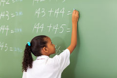 Schoolgirl writing chalkboard Royalty Free Stock Images