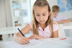 Schoolgirl writing down notes Royalty Free Stock Photo