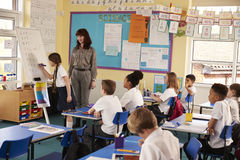 Schoolgirl writing on flip chart at the front of class Royalty Free Stock Photos