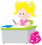 Schoolgirl writing a test in school. Vector illustration of an elementary school student sitting at a desk and writing a test in an exercise book at lesson in a Royalty Free Stock Photo