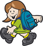 Schoolgirl02. Pupil with school bag - vector illustration Stock Photos