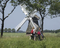 Schoolgirls on a bike in the Netherlands Stock Image