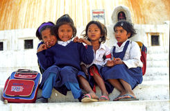 Schoolgirls, Bodnath, Nepal Stock Image