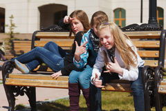 Schoolgirls on a campus Royalty Free Stock Photography