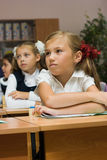 Schoolgirls in a classroom. Girls at a lesson at school sit at school desks Royalty Free Stock Photo