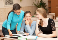 Schoolgirls in the classroom Royalty Free Stock Image
