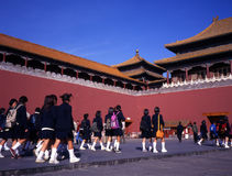 Schoolgirls at forbidden city beijing Royalty Free Stock Photo
