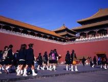 Schoolgirls at forbidden city beijing Royalty Free Stock Photo