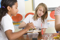 Schoolgirls In A Science Class Royalty Free Stock Photo