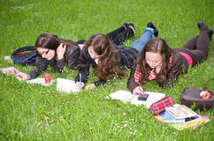 Schoolgirls learning Stock Photos