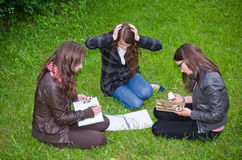 Schoolgirls learning intensive Stock Image