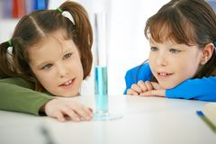 Schoolgirls looking at test tube Royalty Free Stock Images