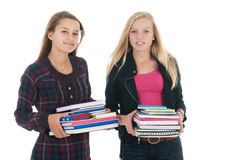Schoolgirls with school bags Royalty Free Stock Photography