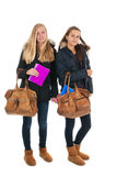Schoolgirls with school bags Royalty Free Stock Photo