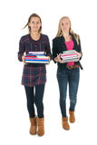 Schoolgirls with school bags Stock Photo
