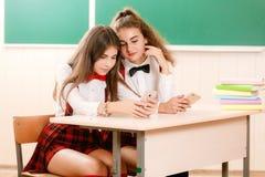Schoolgirls in school uniforms sit for couples in the classroom. Girls go to school.