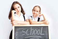 Schoolgirls about a schoolboard Stock Images