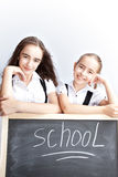 Schoolgirls about a schoolboard Stock Photography