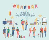 Schoolgirls, schoolboys with books, backpacks and school bags. Back to school vector illustration. Happy and smiling te. Schoolgirls, schoolboys with books Stock Photos