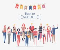 Schoolgirls, schoolboys with books, backpacks and school bags. Back to school vector poster in flat style. Happy and smiling te. Enagers.  Colorful design Stock Images