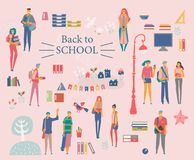 Schoolgirls, schoolboys with books, backpacks and school bags. Back to school vector banner. Happy and smiling te stock illustration