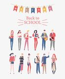 Schoolgirls, schoolboys with books, backpacks and school bags. Back to school vector flyer in flat style. Happy and smiling te. Enagers. Colorful design Stock Photography