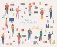Schoolgirls and schoolboys with books, backpacks and school bags. Back to school vector poster in flat style. Happy and smiling te. Enagers.  Colorful design Stock Photos