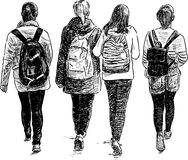 Schoolgirls walking Royalty Free Stock Images