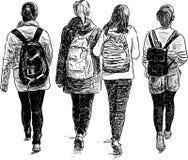 Schoolgirls walking Royalty Free Stock Images