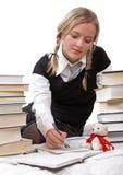schoolgirlstudetnwriting Arkivfoton