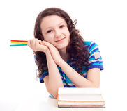 Schoolgril with books Royalty Free Stock Images