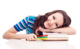 Schoolgril with books Stock Photo