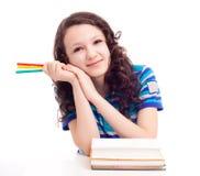 Schoolgril com livros Imagens de Stock Royalty Free
