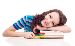 Schoolgril con i libri Fotografia Stock