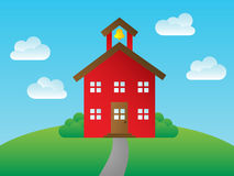 Schoolhouse. Cute, traditional schoolhouse background with puffy clouds Stock Photo