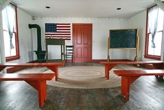 Schoolhouse Interior. The interior of a beautiful historic schoolhouse, so typical of early American schools Royalty Free Stock Photos
