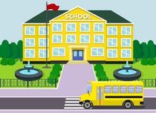 Schoolhouse over landscape background. Vector illustration. Stock Photo