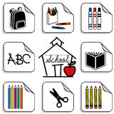 Schoolhouse Stickers. Eight schoolhouse stickers for back to school, scrapbooks, preschool, daycare, arts, crafts and literacy projects, includes a backpack vector illustration