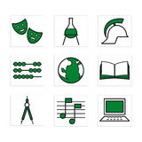 Schooliconsgreen Stock Photography
