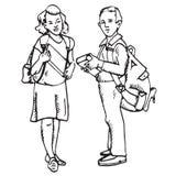Schooljonge geitjes: jongen en meisje Stock Fotografie