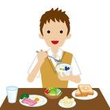 Schooljongen die Ontbijt eten vector illustratie