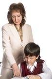 Schooljongen en leraar Royalty-vrije Stock Foto