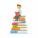 Schooljongen - karakter van gelukkige jong geitjezitting op boeken vector illustratie
